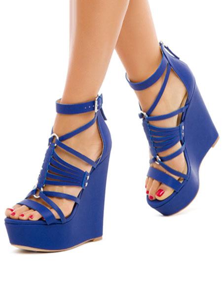 Milanoo Sandalias Plataforma Con Cuña Azul Plataforma Dedo Del Pie Abierto Corta La Correa Del Tobillo Sandalia Zapatos Para Mujeres