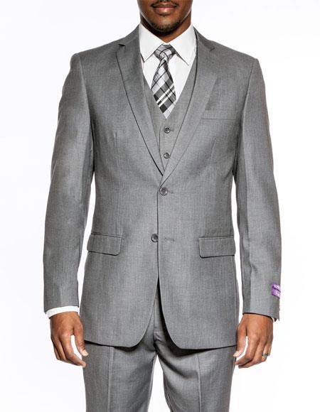 Mens Medium Grey 3piece slimfit wedding prom vested suit