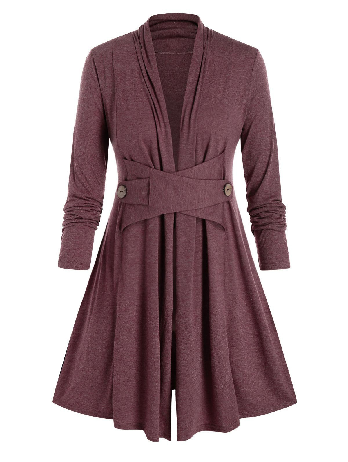 Plus Size Collarless A Line Casual Tunic Coat