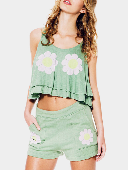 Yoins Fashion Round Neck Floral Print Pattern Crop Top