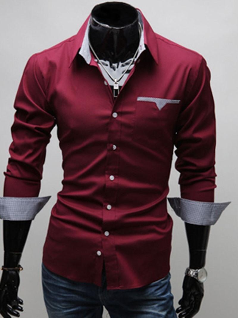 Ericdress Lapel Color Block Casual Slim Mens Summer Shirt