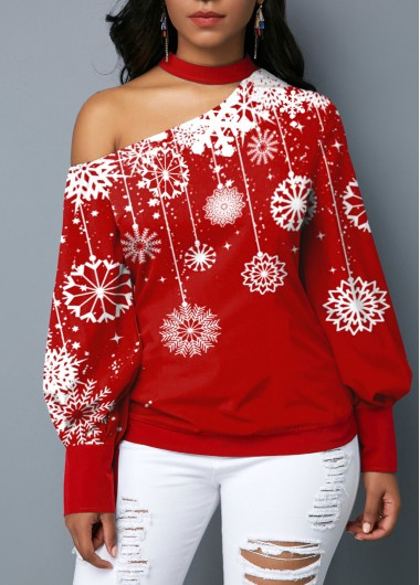 Women'S Red Snowflake Print One Cold Shoulder Long Sleeve Holiday Blouse  Puff Sleeve Mock Neck Tunic Holiday Top By Rosewe - XL