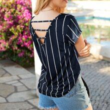 T-Shirt mit Ausschnitt hinten und Streifen