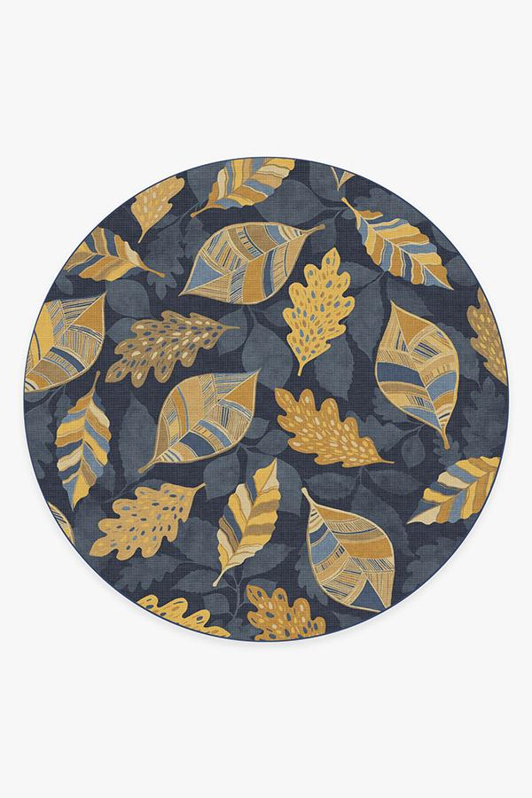 Washable Rug Cover & Pad | Aurelia Navy Gold Rug | Stain-Resistant | Ruggable | 8' Round
