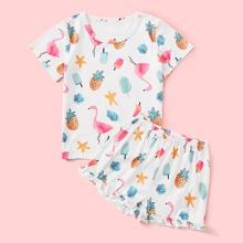 Toddler Girls Flamingo & Pineapple Print Ruffle Hem PJ Set