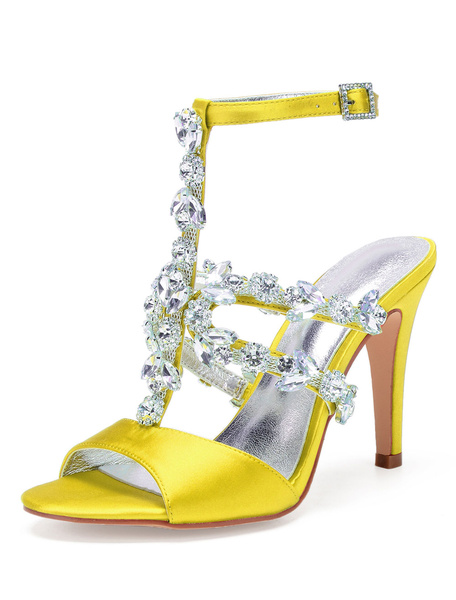 Milanoo Satin Wedding Shoes Silver Peep Toe Rhinestones T Type Strappy High Heel Sandals