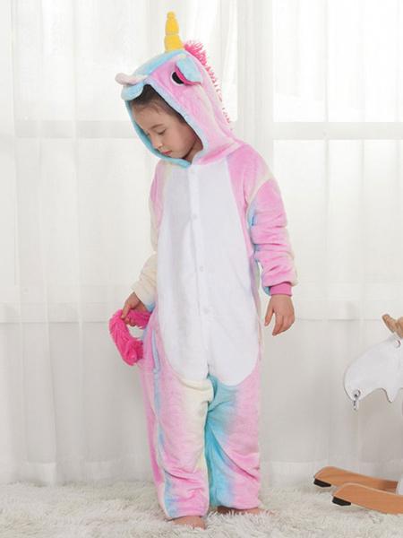 Milanoo Rainbow Unicorn Kigurumi Pajamas Onesie Pink For Kids Winter Sleepwear Mascot Animal Halloween Costume