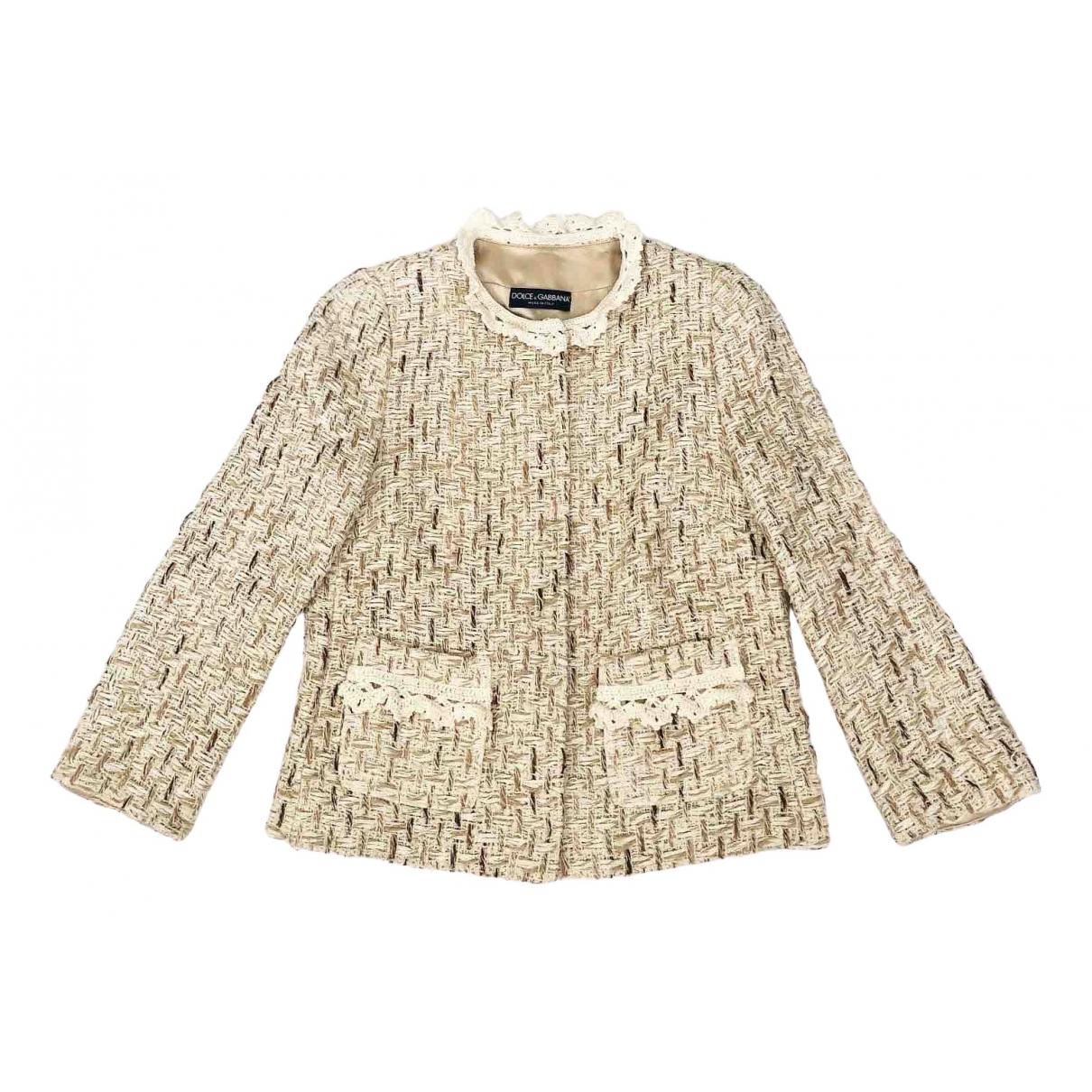 Dolce & Gabbana - Veste   pour femme en tweed - beige