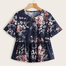 Bluse mit Blumen Muster und Schosschen auf den Ärmeln
