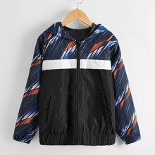 Toddler Boys Striped Hooded Windbreaker Jacket