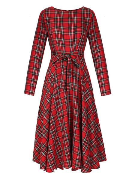 Milanoo Vestido largo rojo  Moda Mujer Dibujo tartan con manga larga Vestidos Vestidos vintage de poliester con escote redondo Primavera estilo street