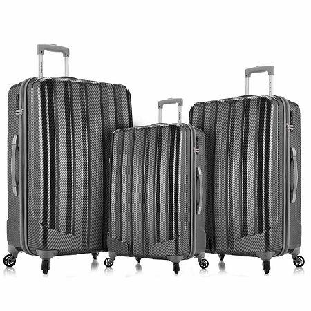 Rockland Metallic 3-pc. Hardside Luggage Set, One Size , Black
