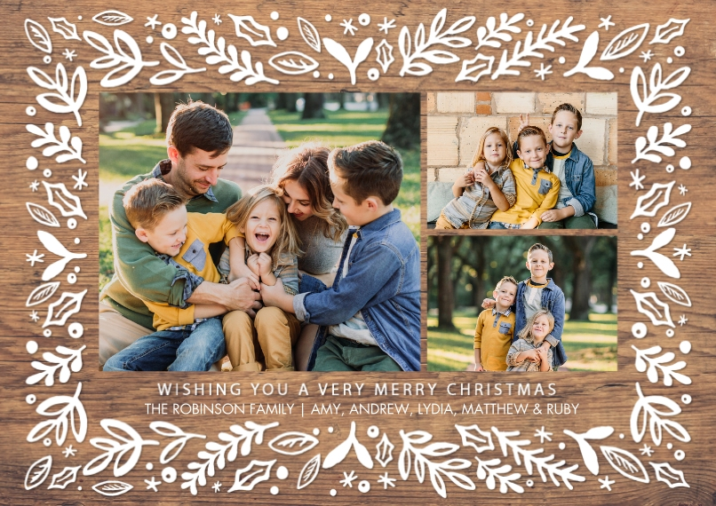 Christmas Photo Cards 5x7 Cards, Premium Cardstock 120lb, Card & Stationery -Christmas Leaves Border by Tumbalina