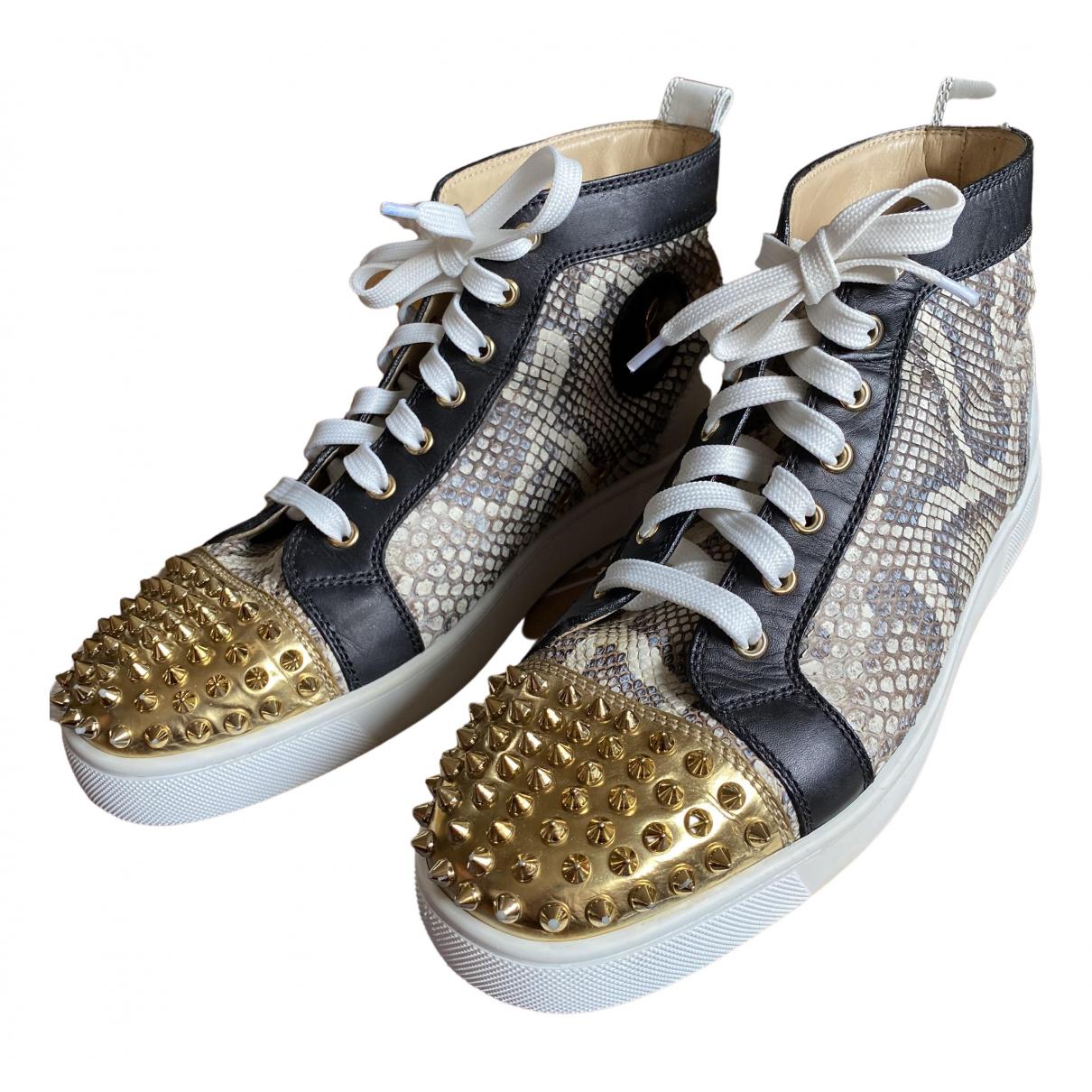 Christian Louboutin Louis Sneakers in  Beige Python