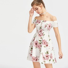 Floral Print Smocked Bardot Dress