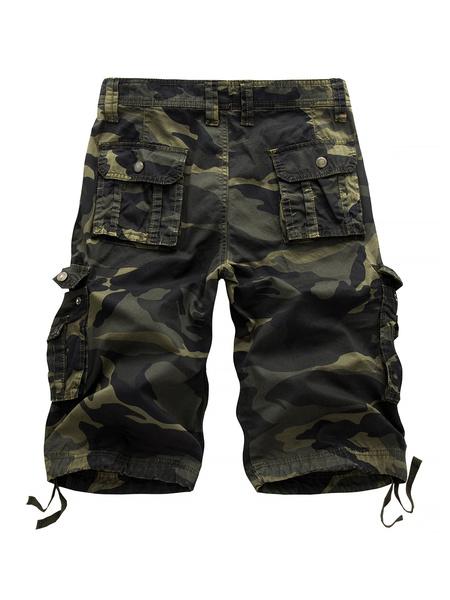 Milanoo Cotton Casual Shorts Camo Print Pocket Drawstring Men Cargo Shorts