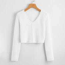 Solid Button Front Crop Sweater