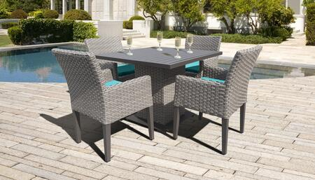 Florence Collection FLORENCE-SQUARE-KIT-4DCC-ARUBA Patio Dining Set with 1 Table   4 Arm Chairs - Grey and Aruba