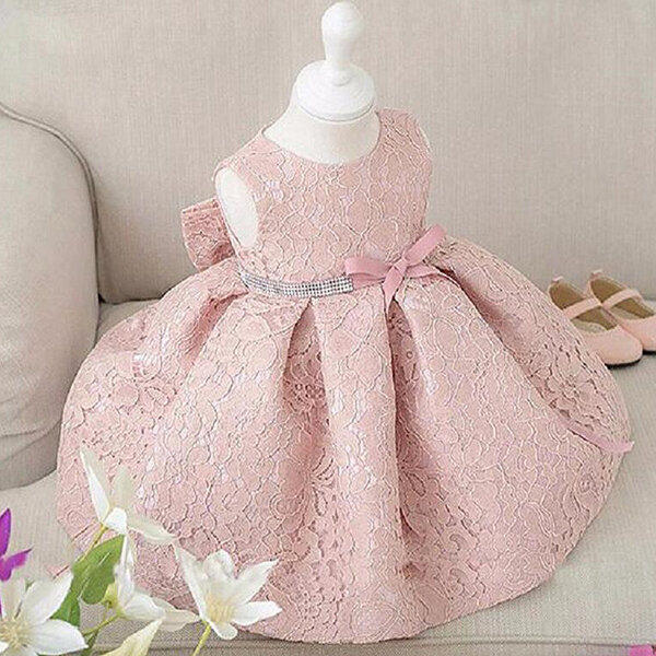 Elegant Girl Sleeveless Big Bow Ball Gown Party Princess Dresses For 1-7 Years