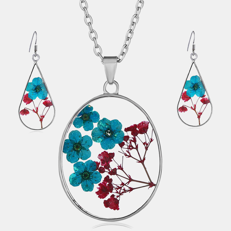 Vintage Natural Dried Flower Necklace Earring Set Resin Daisy Necklace Geometric Water Drop Earrings