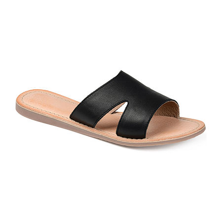 Journee Signature Womens Walker Flat Sandals, 7 1/2 Medium, Black