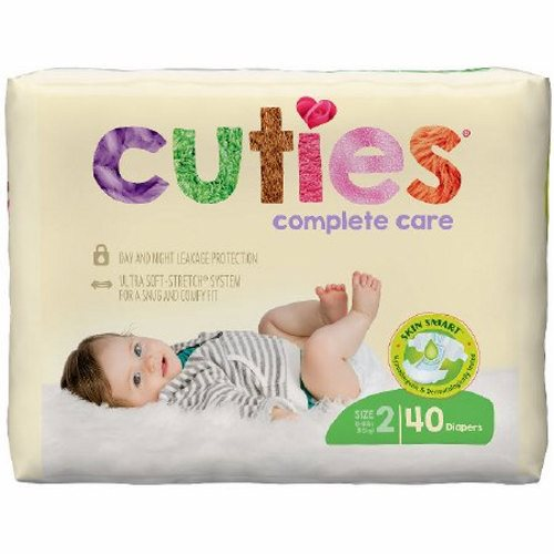 Unisex Baby Diaper Cuties Complete Care Tab Closure Size 2 Disposable Heavy Absorbency - 40 Bags by First Quality
