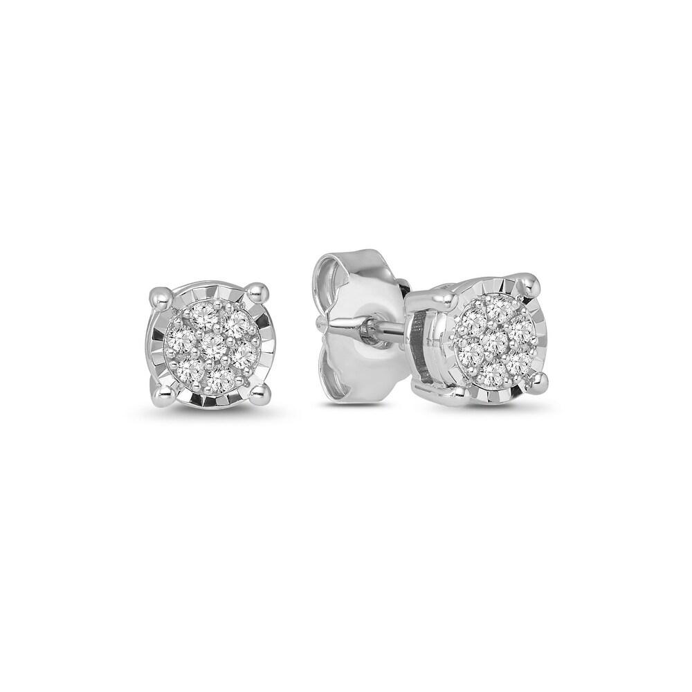 925 Sterling Silver 1/6 Carat Diamond Cluster Earrings for Women (White)