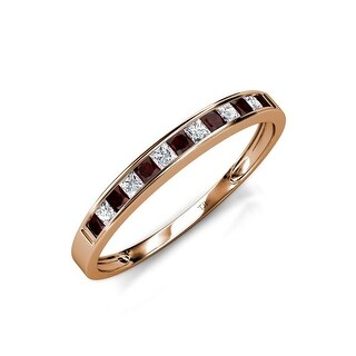 TriJewels Red Garnet Diamond 13 Stone Womens Wedding Band 14K Gold (Red Garnet - Rose - 5.25)