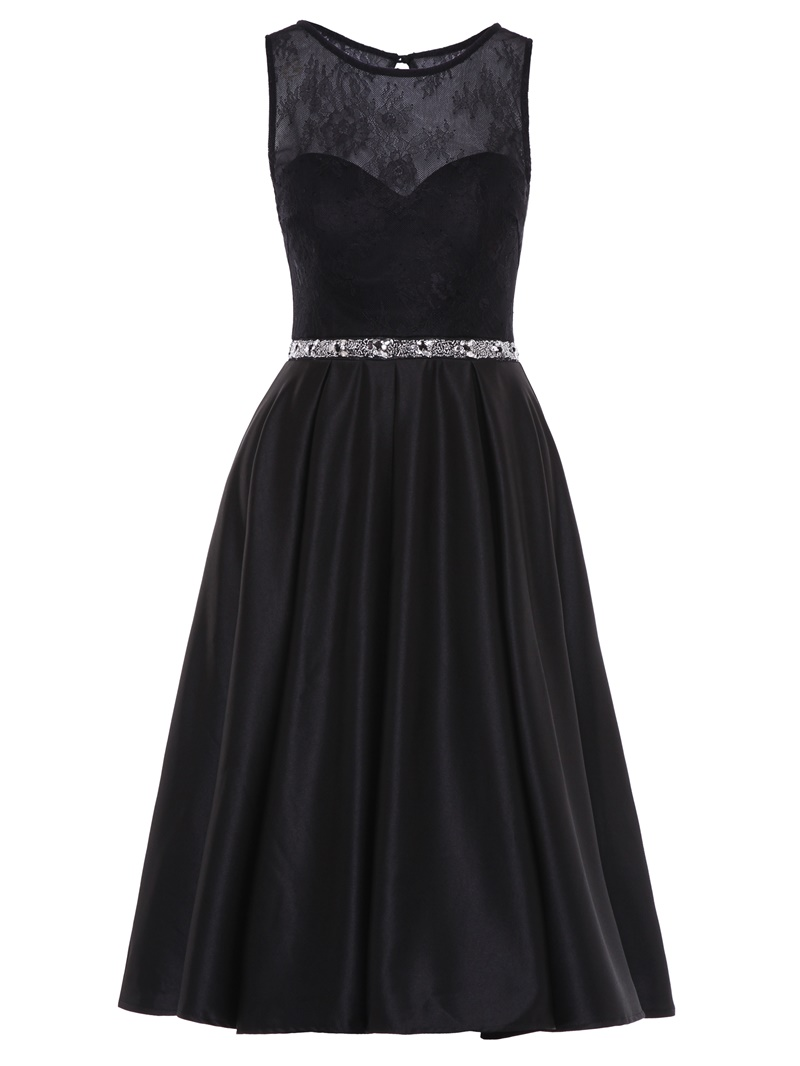 Ericdress Scoop Neck Beaded Lace Homecoming Dress