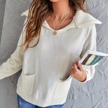 Pullover mit doppelten Taschen und Raglanaermeln
