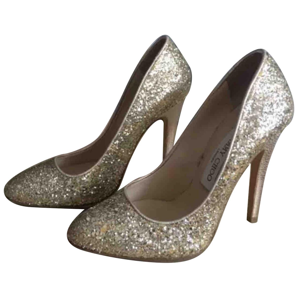 Jimmy Choo \N Gold Glitter Heels for Women 38 EU