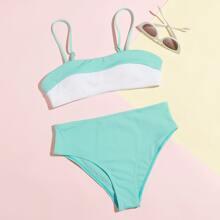 Colorblock High Waist Bikini Swimsuit