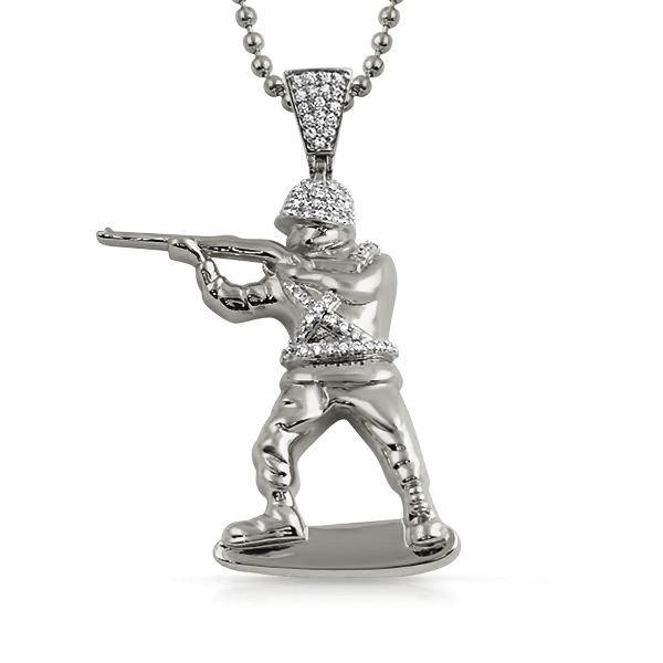 Toy Army Soldier 3D CZ Pendant Rhodium