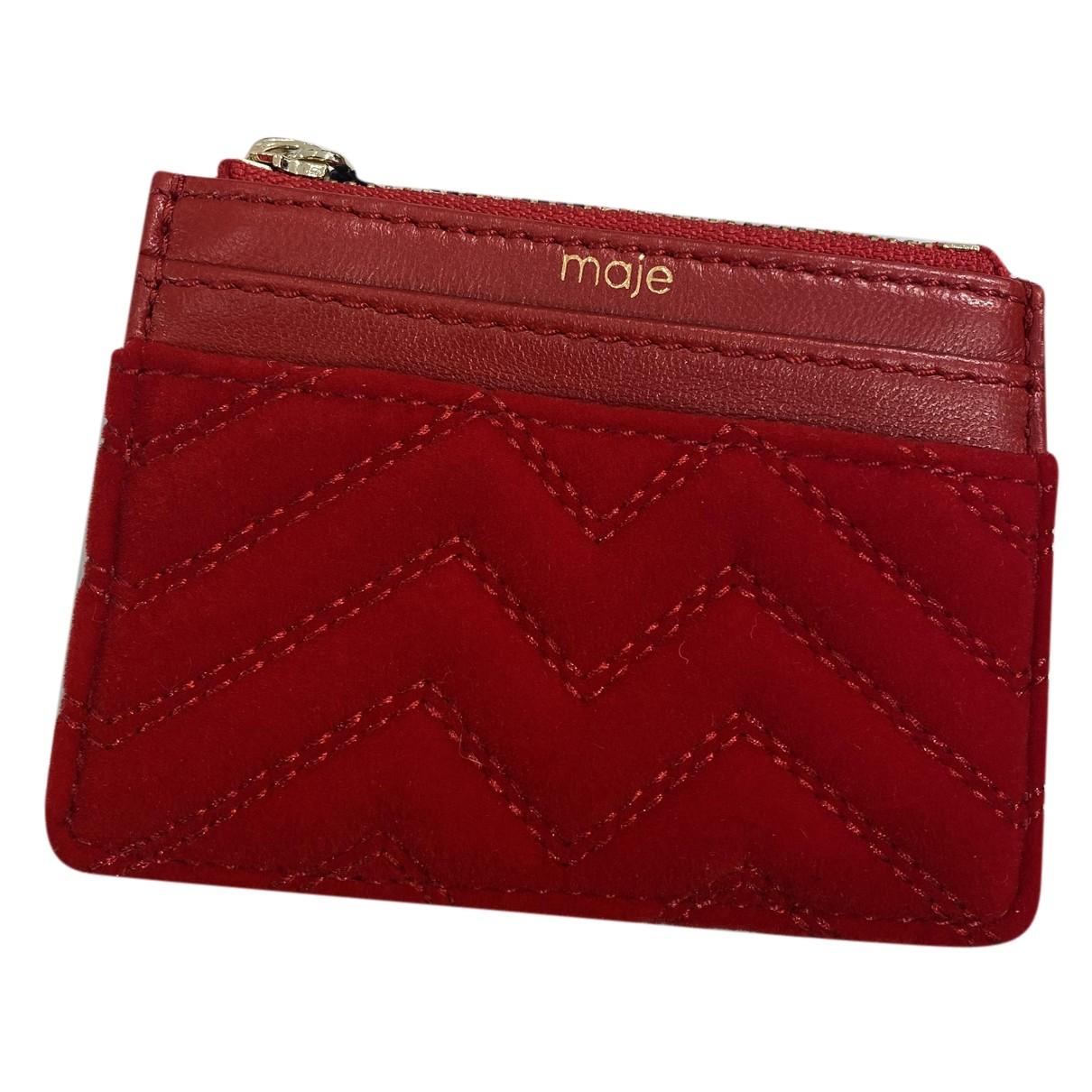 Maje - Portefeuille   pour femme en cuir - rouge
