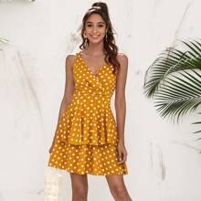 Sommerkleid mit V Kragen, mehrschichtigem Saum und Punkten Muster