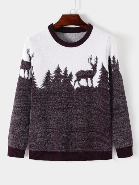 Yoins Men Winter Christmas Deer Print Crew Neck Fluffy Knit Sweater