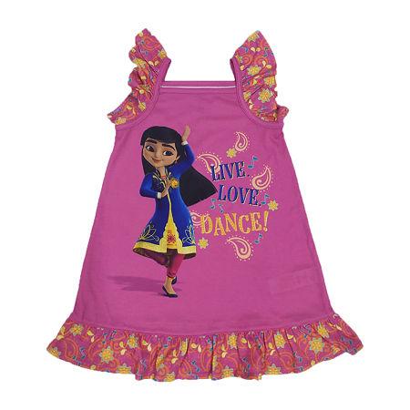 Disney Collection Mira Little & Big Girls Sleeveless Square Neck Nightshirt, 2 , Pink