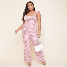 Plus Gingham Ruffle Trim Tie Back Cami Jumpsuit