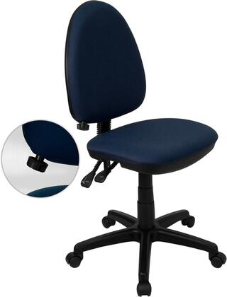 WL-A654MG-NVY-GG Mid-Back Navy Blue Fabric Multi-Functional Task Chair with Adjustable Lumbar