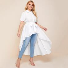Plus Button Front Belted High Low Tunic Blouse