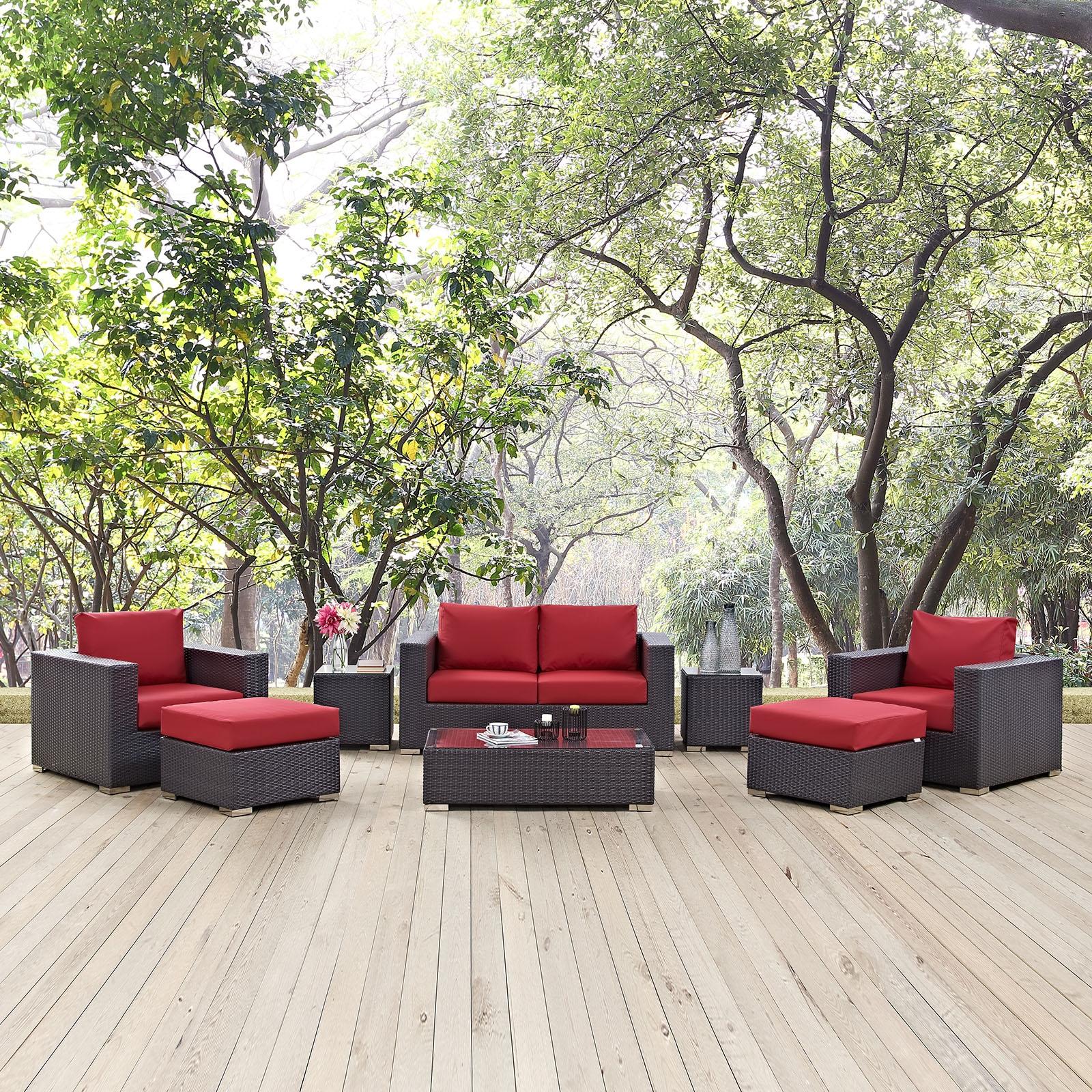 Convene 8 Piece Outdoor Patio Sofa Set in Espresso Red