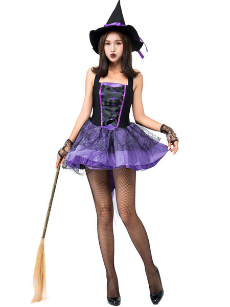 Milanoo Halloween Costumes Woman\\'s Witch Color Block Glamorous Purple Gloves Matte Satin Halloween Holidays Costumes