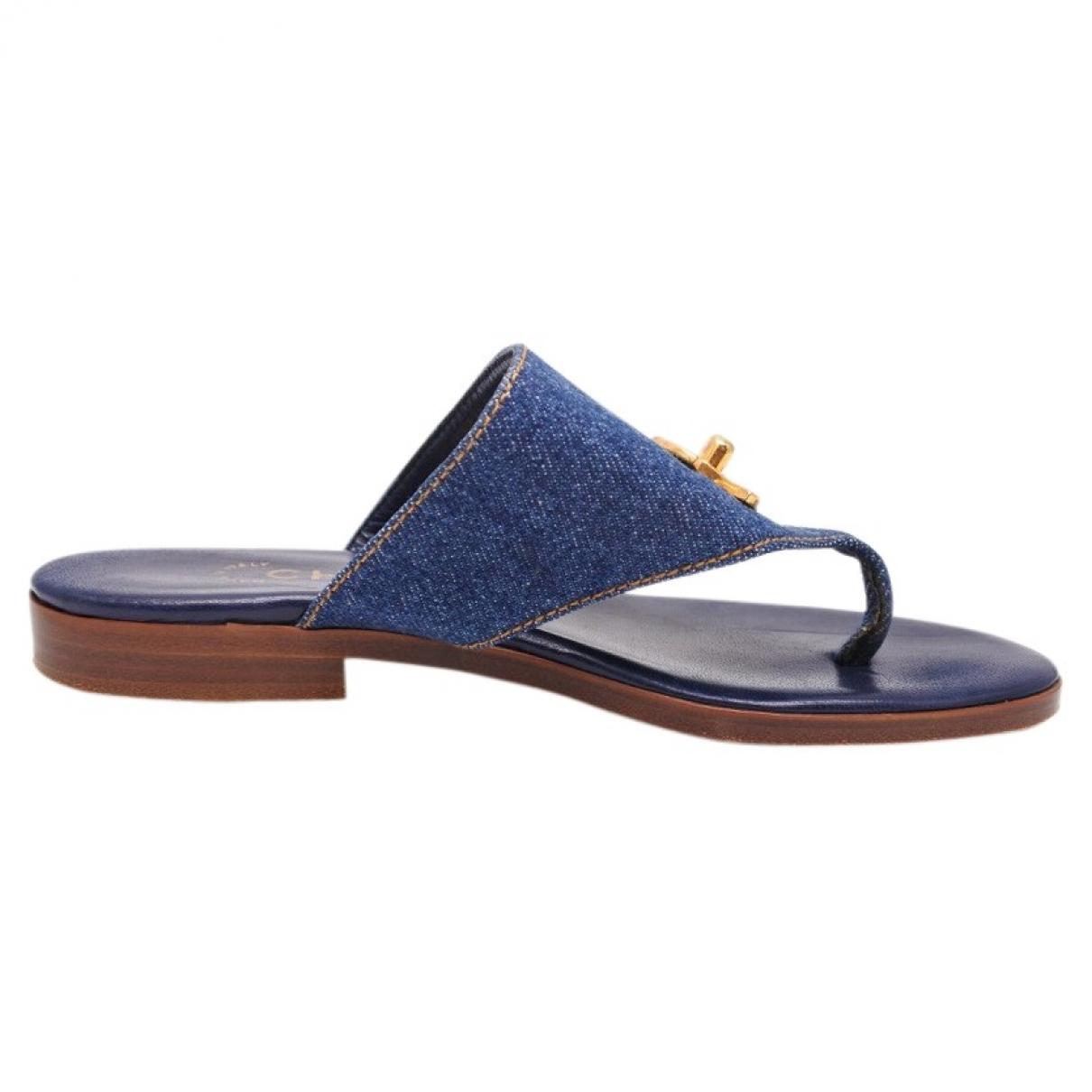 Chanel \N Blue Cloth Sandals for Women 36 EU