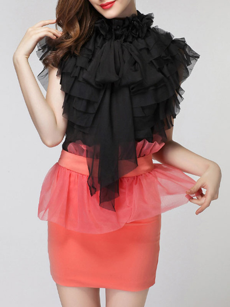 Milanoo Shirt For Women Apricot Layered Ruffles Stand Collar Retro Sleeveless Organza Tops