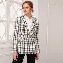 Tweed Blazer mit Reverskragen, Klappe Detail, Schnalle, Guertel und Karo Muster