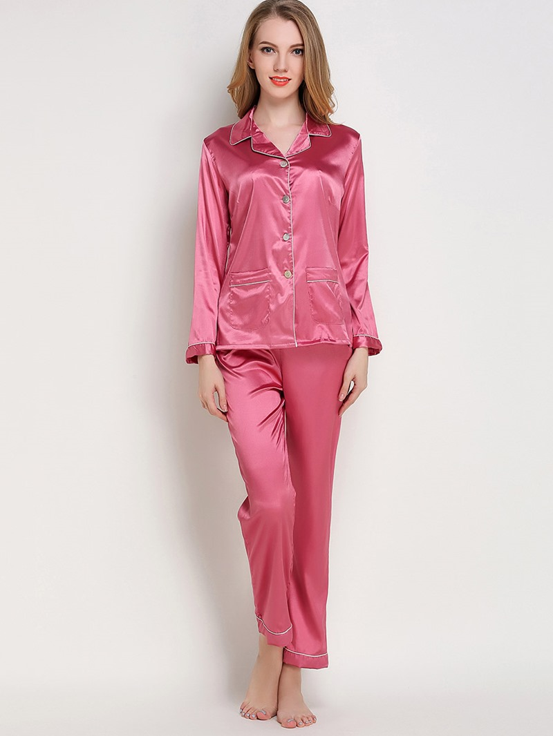 Eircdress Sleepwear Lapel Single-Breasted Long Sleeve Pajama Set