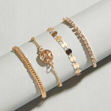 4 piezas pulsera grabada con diamante de imitacion