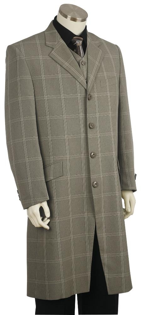 4 Button Fashion Grey Zoot Suit Mens