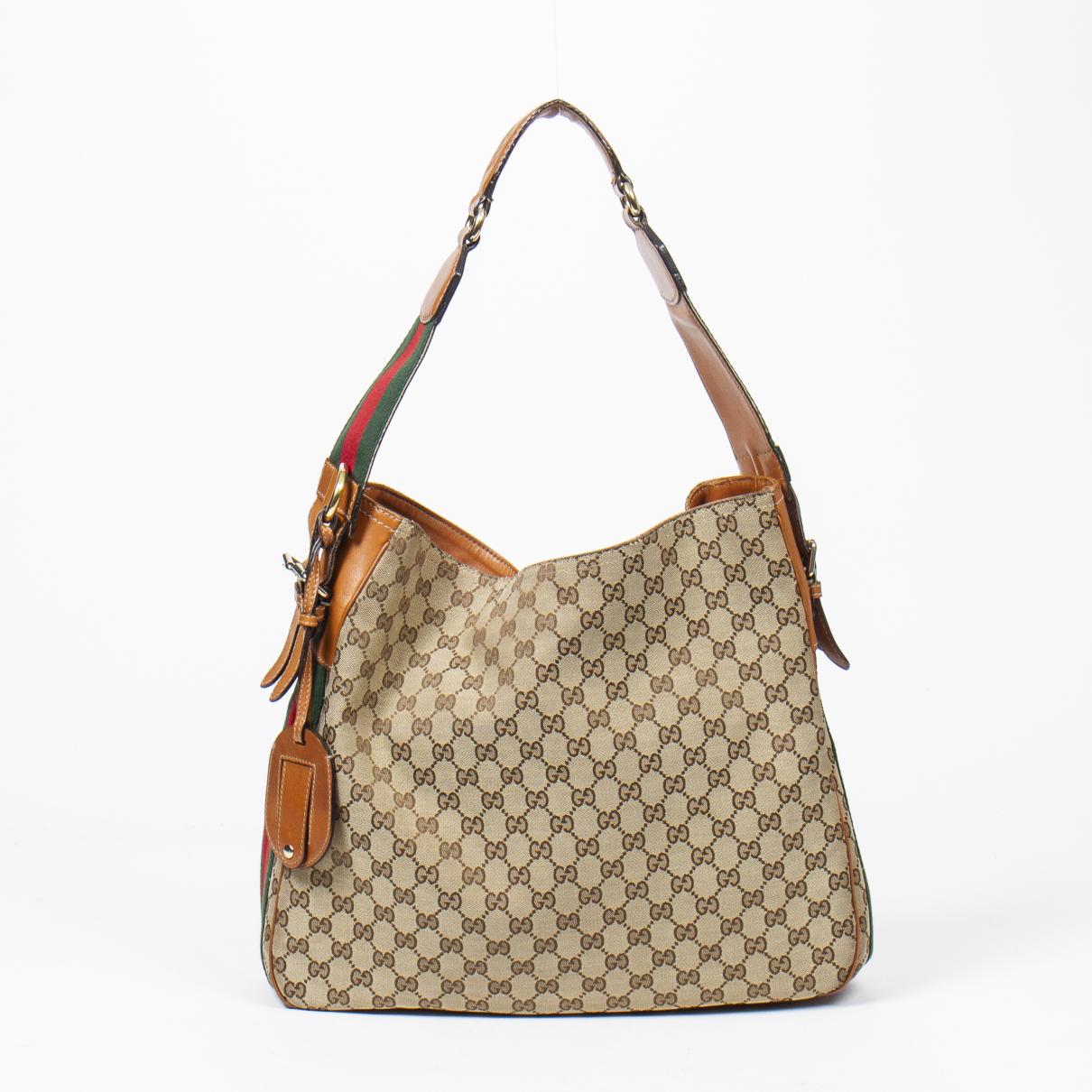Gucci Hobo Handtasche in  Braun Baumwolle