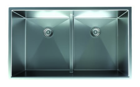 SRRJ3219A Satin Stainless Undermount Sink with Two Large Equal Bowls  Low Divide